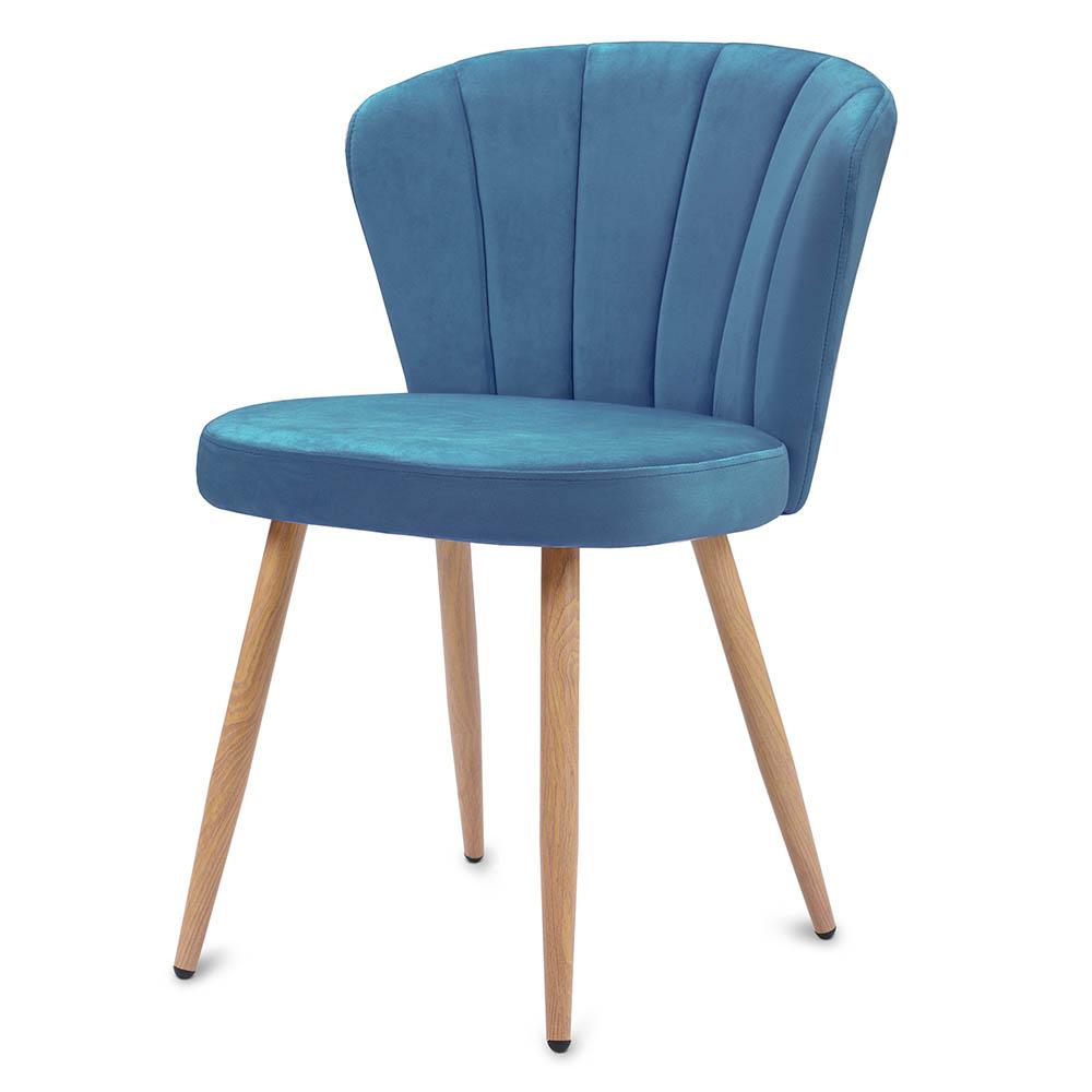 Blue Dining Chair Velvet Fabric Upholstered Armchair Dining Living Bedroom Chair