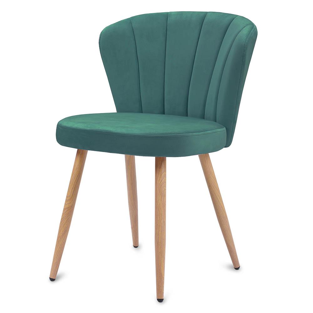 Green Dining Chair Velvet Fabric Upholstered Armchair Dining Living Bedroom Chair