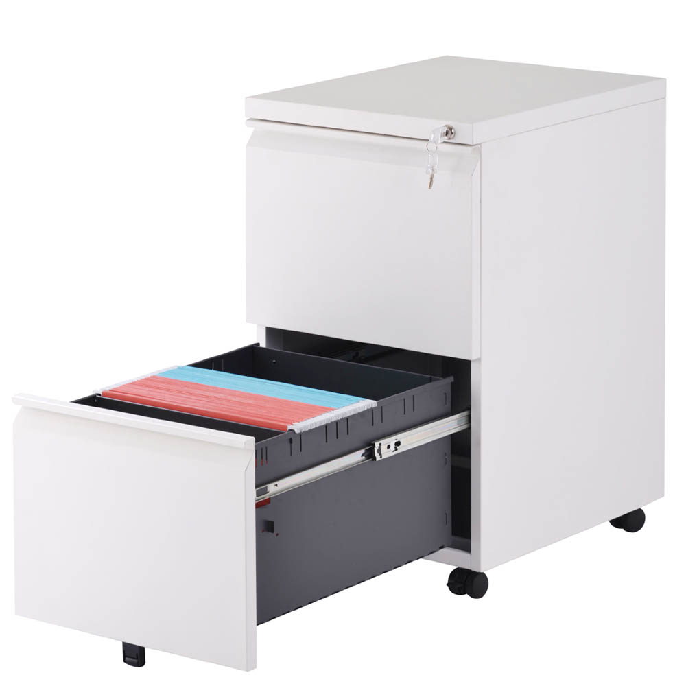 2-Drawer Steel Metal Filing Cabinet with Embedded Handle and Lock for Home and Office White 2 Drawer