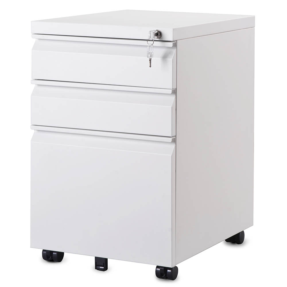 3 Drawer Steel Metal Filing Cabinet with Embedded Handle and Lock Home Office White-3 Drawers
