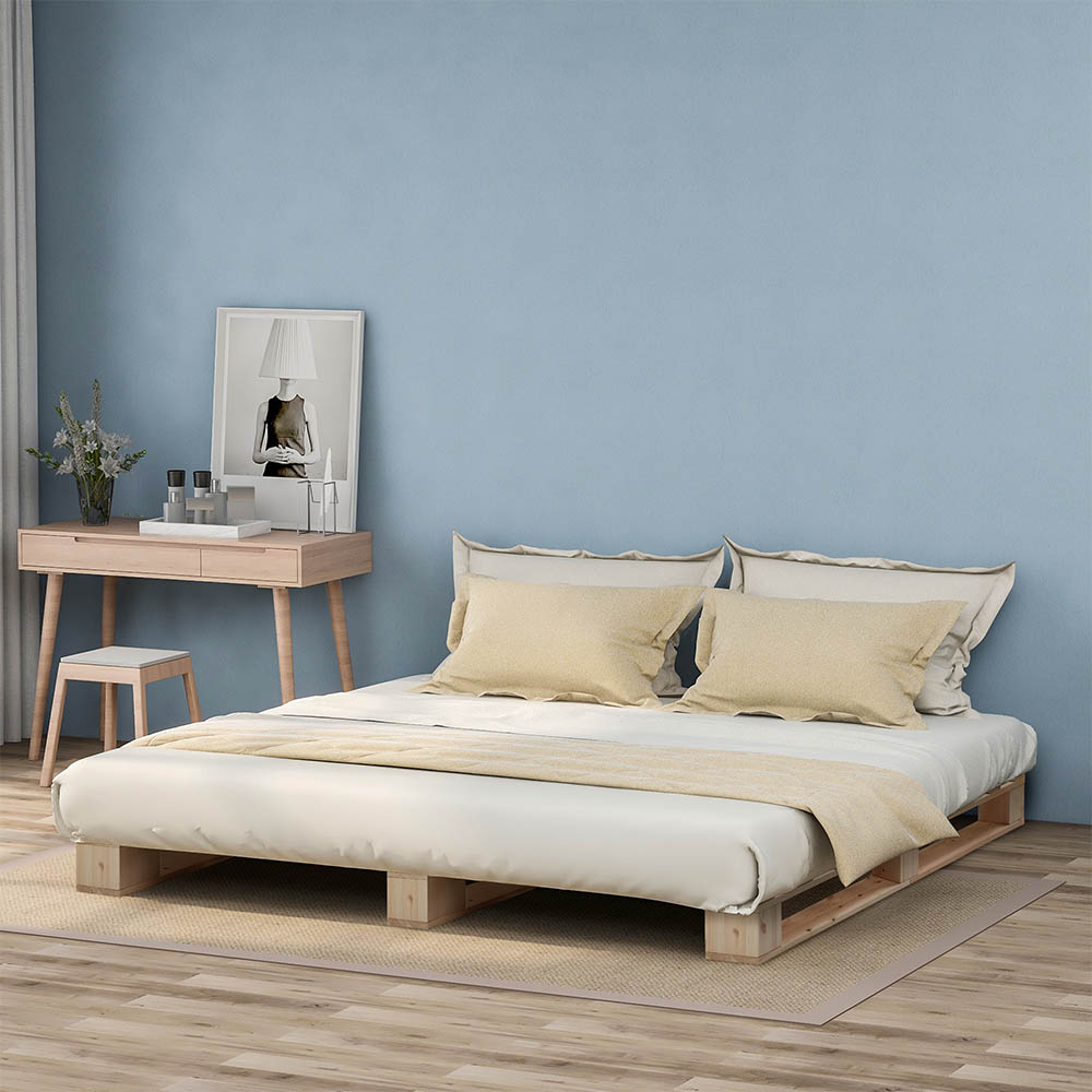 Wooden Platform Bed with Strong Slat Support Natural Wood 140 x 200 cm