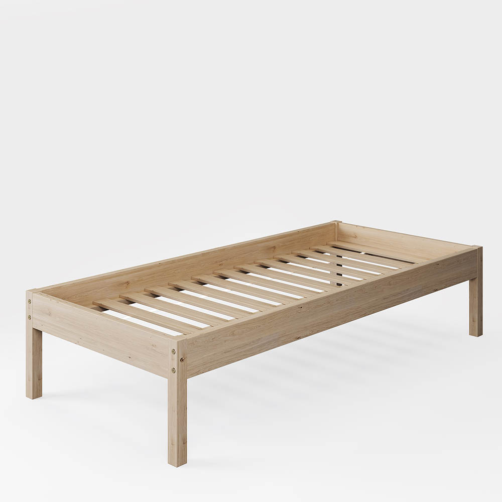 Solid Spruce Wood Bed for Bedrooms Natural Wood Color 90 x 200 cm