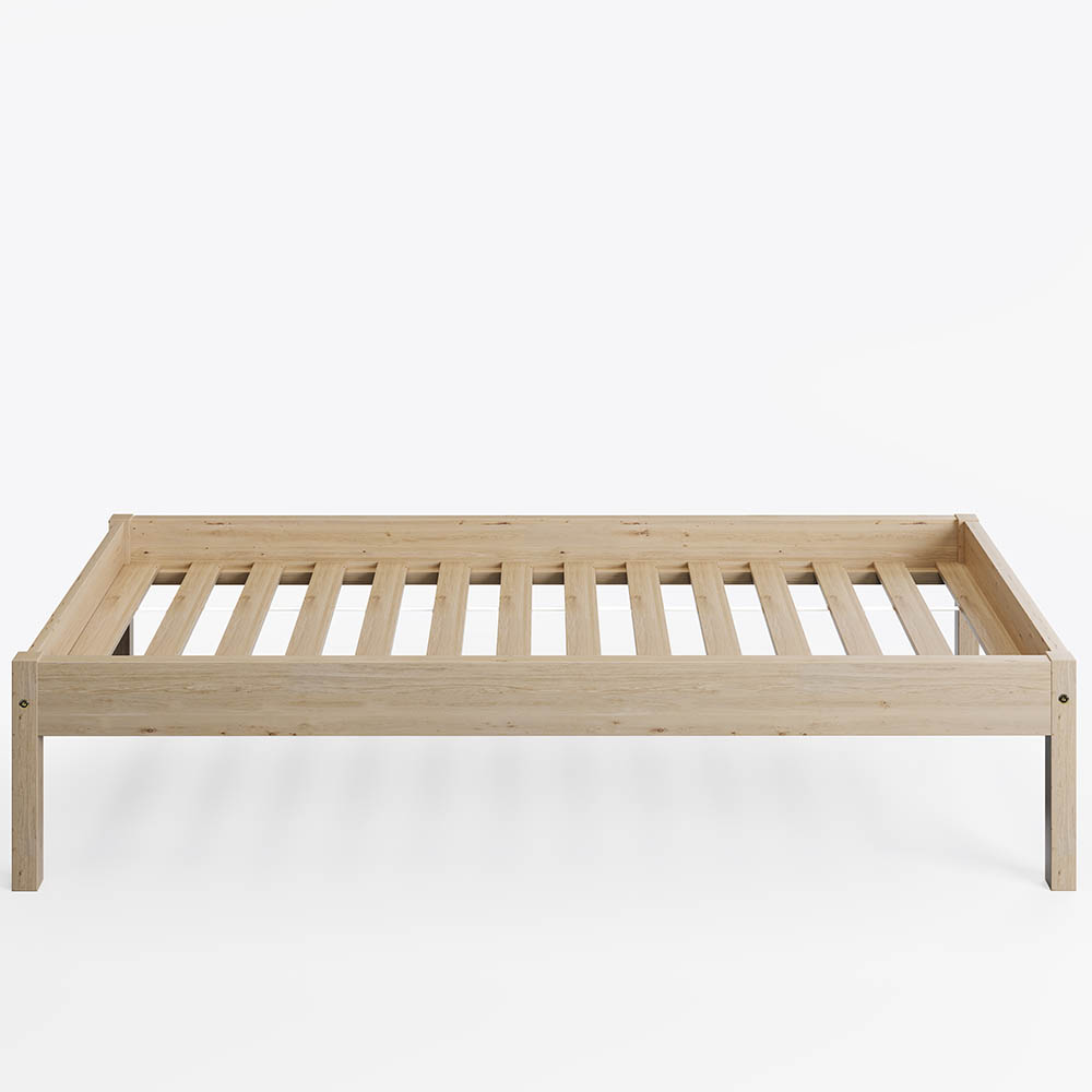 Solid Spruce Wood Bed for Bedrooms Natural Wood Color 100 x 200 cm