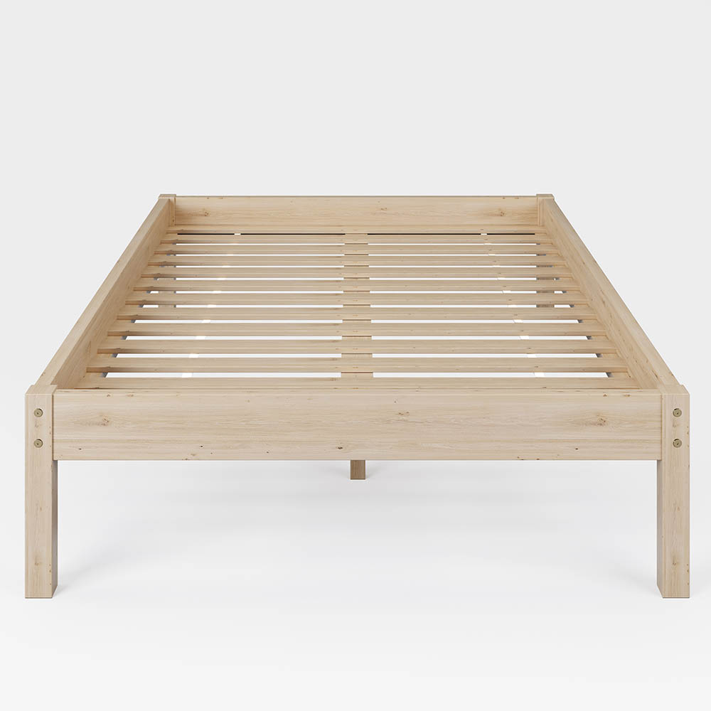 Solid Spruce Wood Bed for Bedrooms Natural Wood Color 140 x 200 cm