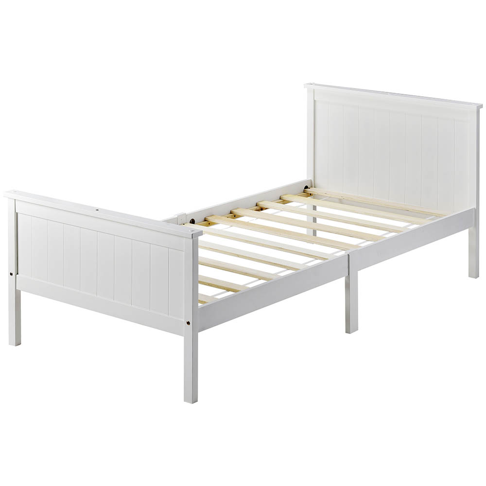 Single Wooden Bed Frame With Headboard And Footboard Pine Wood Bed For Kids Bedroom Ivory