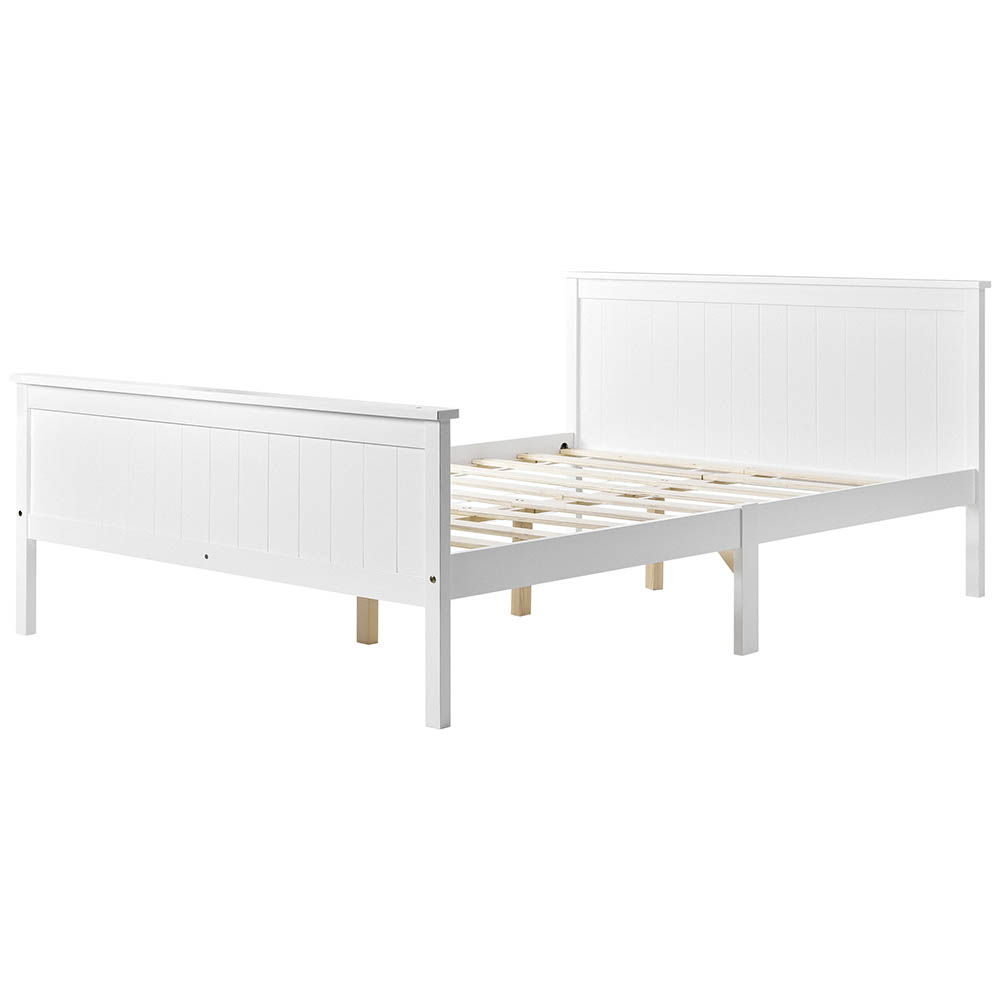 Double wooden Bed Frame with Headboard and Footboard Pine Wood Bed for Kids Bedroom