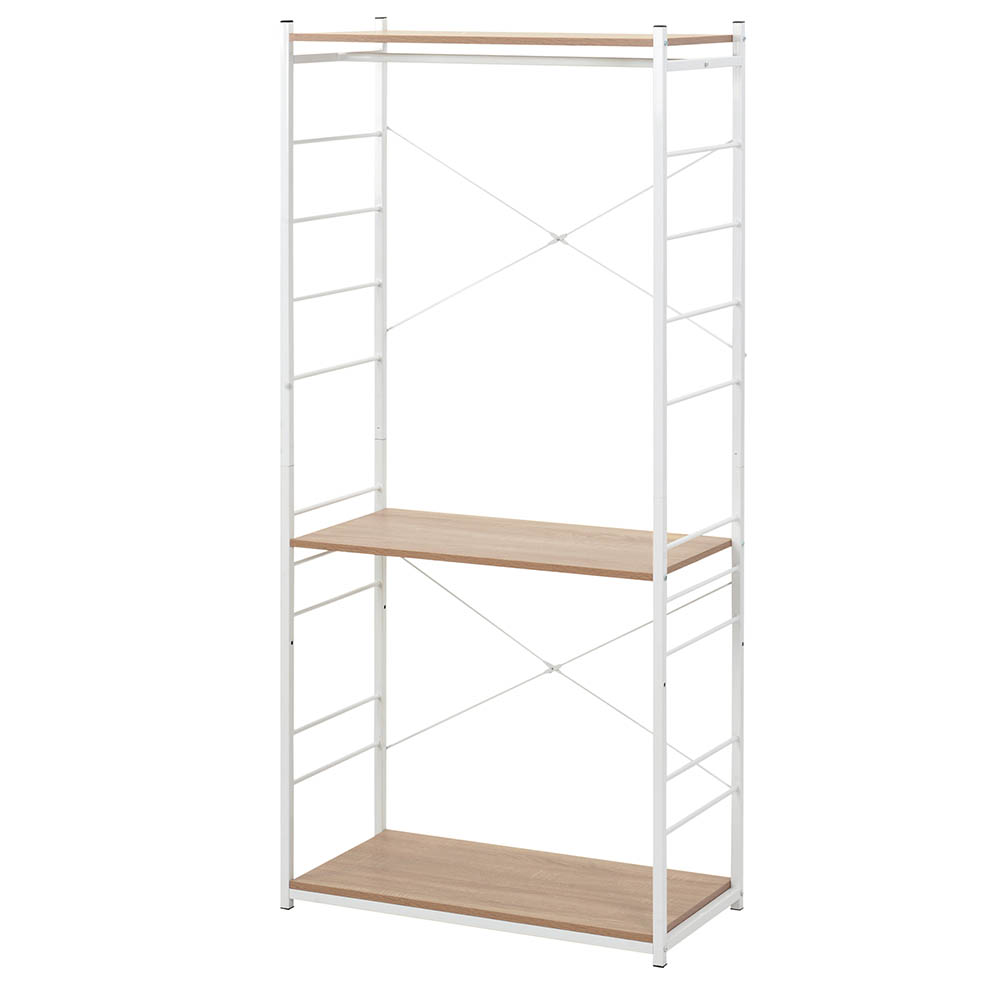 Ladder Shelf Bookshelf Coat rank 2-Tier Industrial Storage Rack for Living Room Bedroom Kitchen Whit