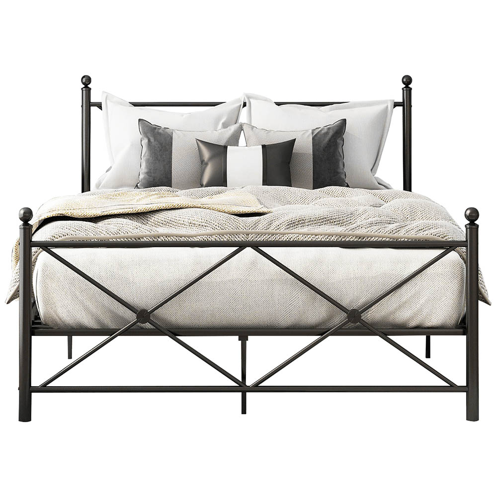 Double Metal Bed Frame with Headboard and Footboard Heavy Duty Mattress Foundation Black