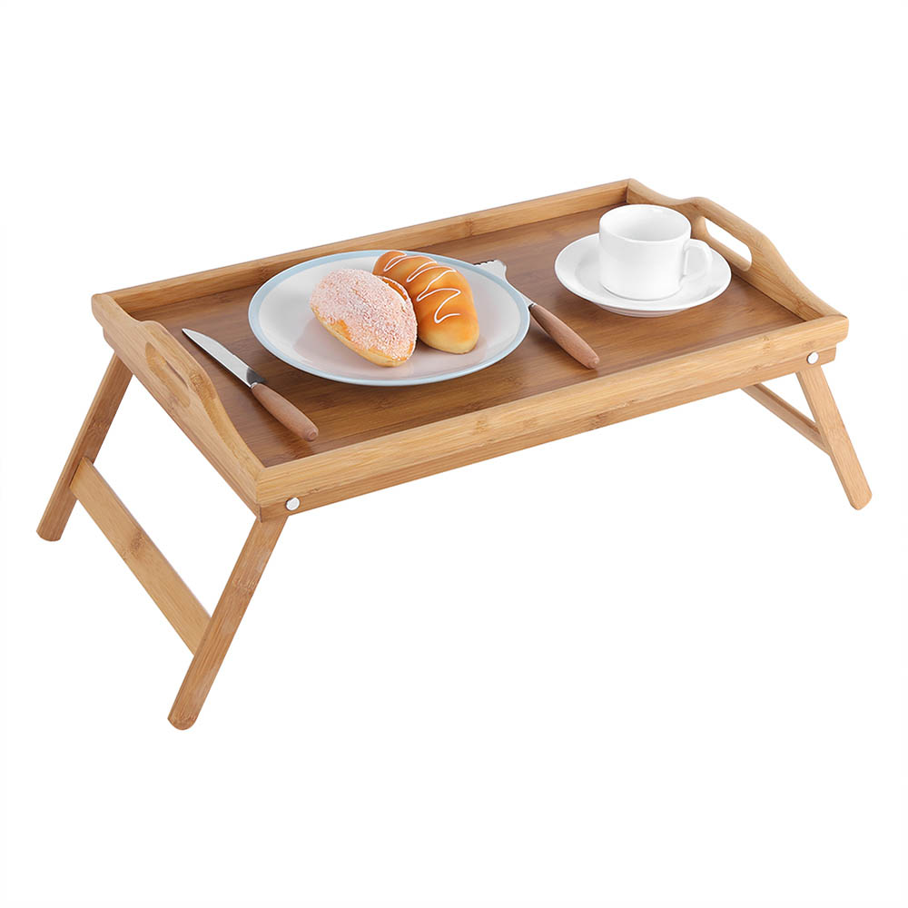 Bamboo Folding Serving Tray for Breakfast In Bed with Handles and Foldable Legs Natural Brown