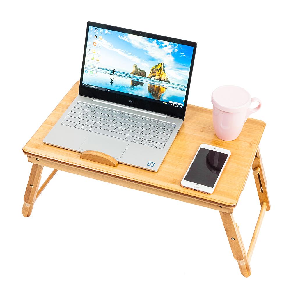 53cm Laptop Desk Trendy Double Flowers Engraving Pattern Adjustable Bamboo Computer Desk