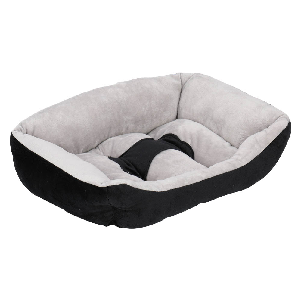 Pet Bed Dog Mat Cat Pad Soft Plush Gray Black for Cats and Small Dogs 48x35x10cm
