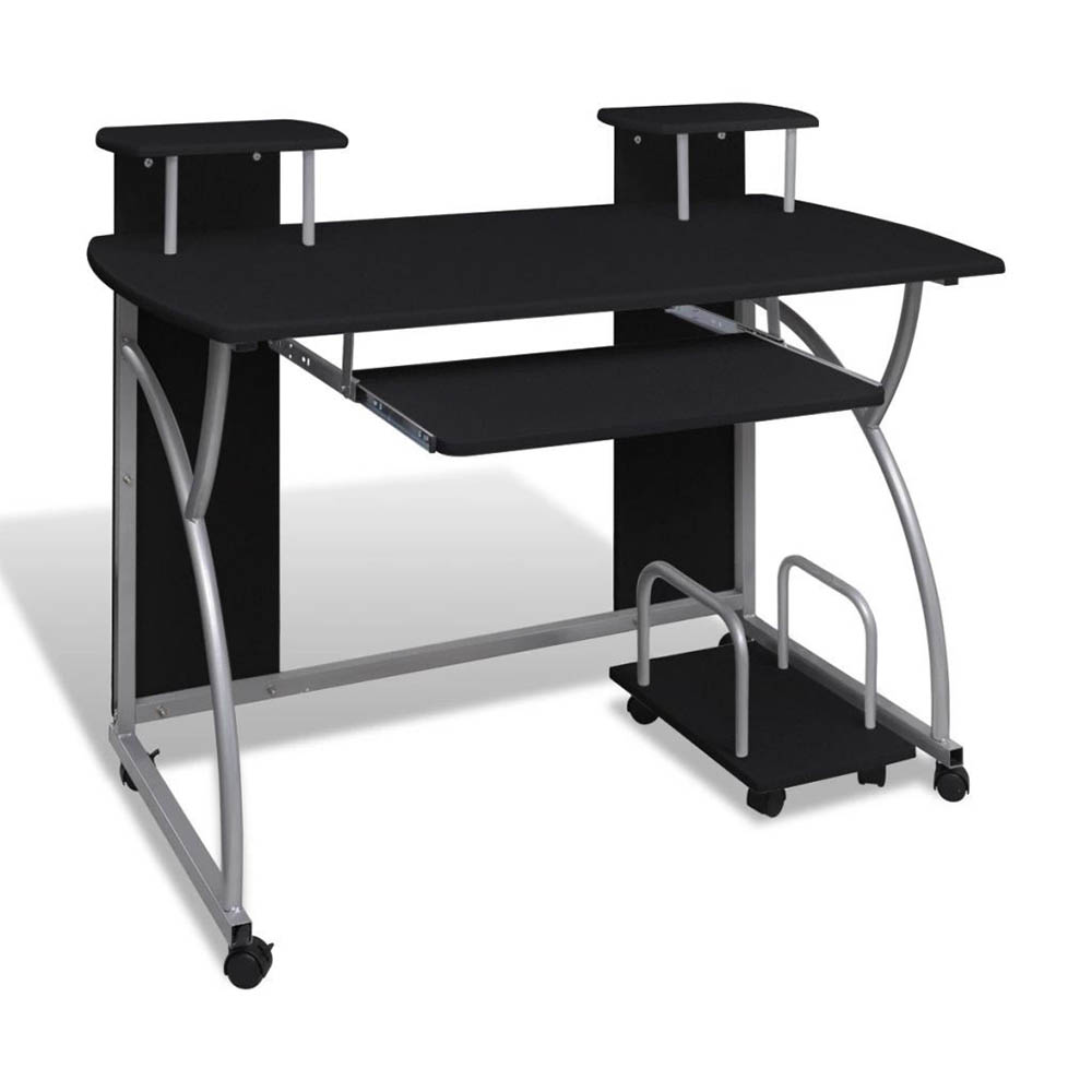 Computer Desk Mobile PC Laptop Table with Pull Out Sliding Keyboard Tray Workstation Writing Desk fo