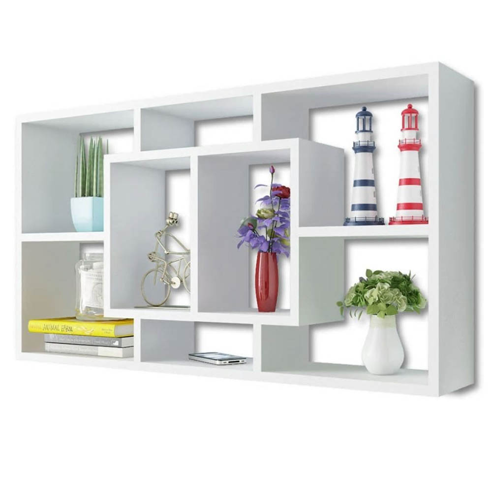 Floating Wall Display Shelf 8 Compartments for Bedroom Office White