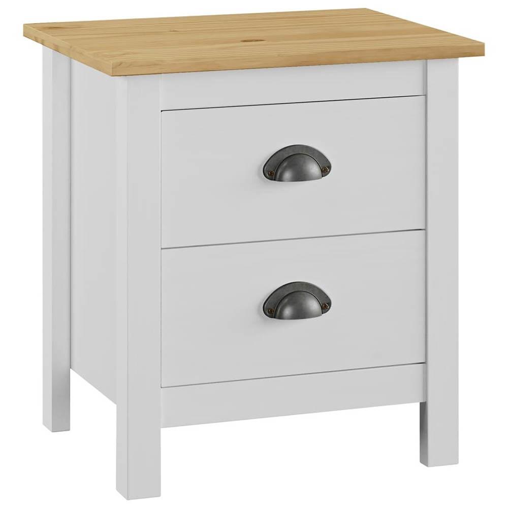 Bedside Cabinet Hill Range White Solid Pine Wood