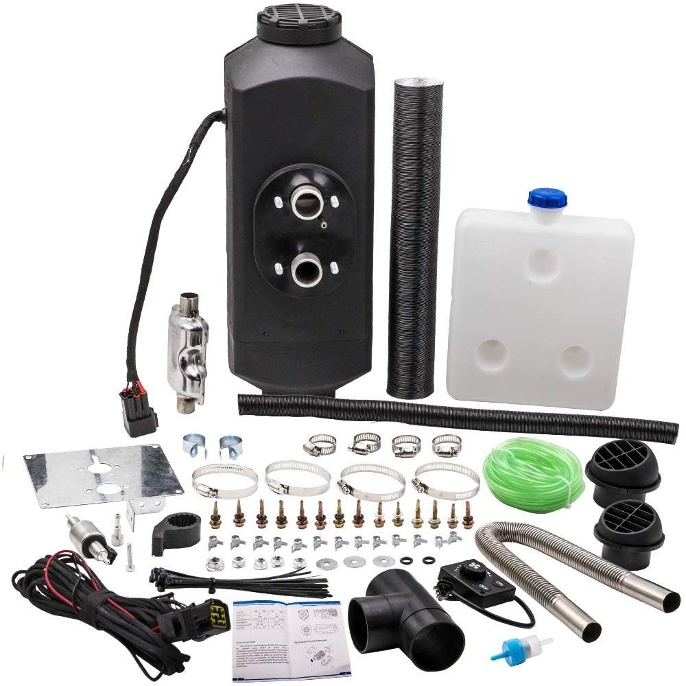 Interruptor de perilla de calentador de combustible diésel de aire 2KW 12V + tanque de 10L para camión, barco, remolque, coche