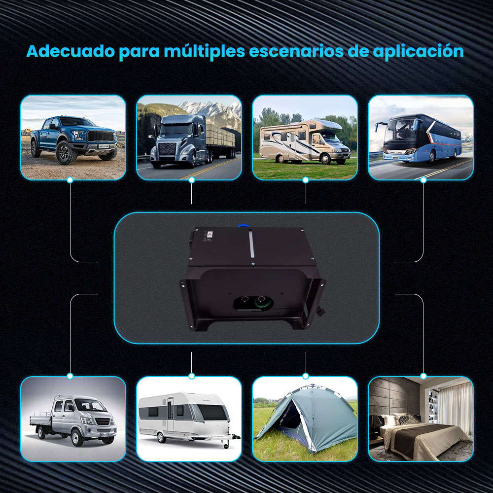 Calentador de estacionamiento de aire diesel 12V 5KW-8KW con 4 orificios + interruptor LCD para camioneta pickup