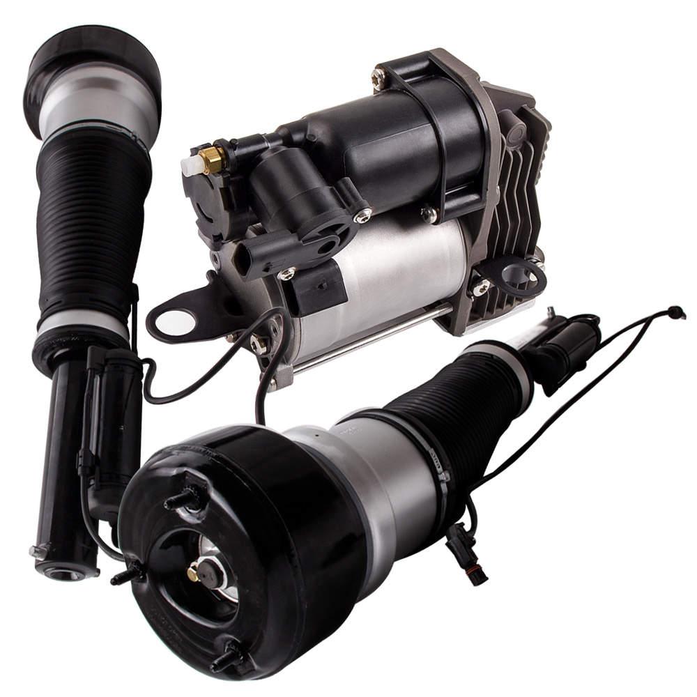 2 Kit de bomba de compresor y puntal de suspensión de aire delantero para Mercedes W221 2213204913