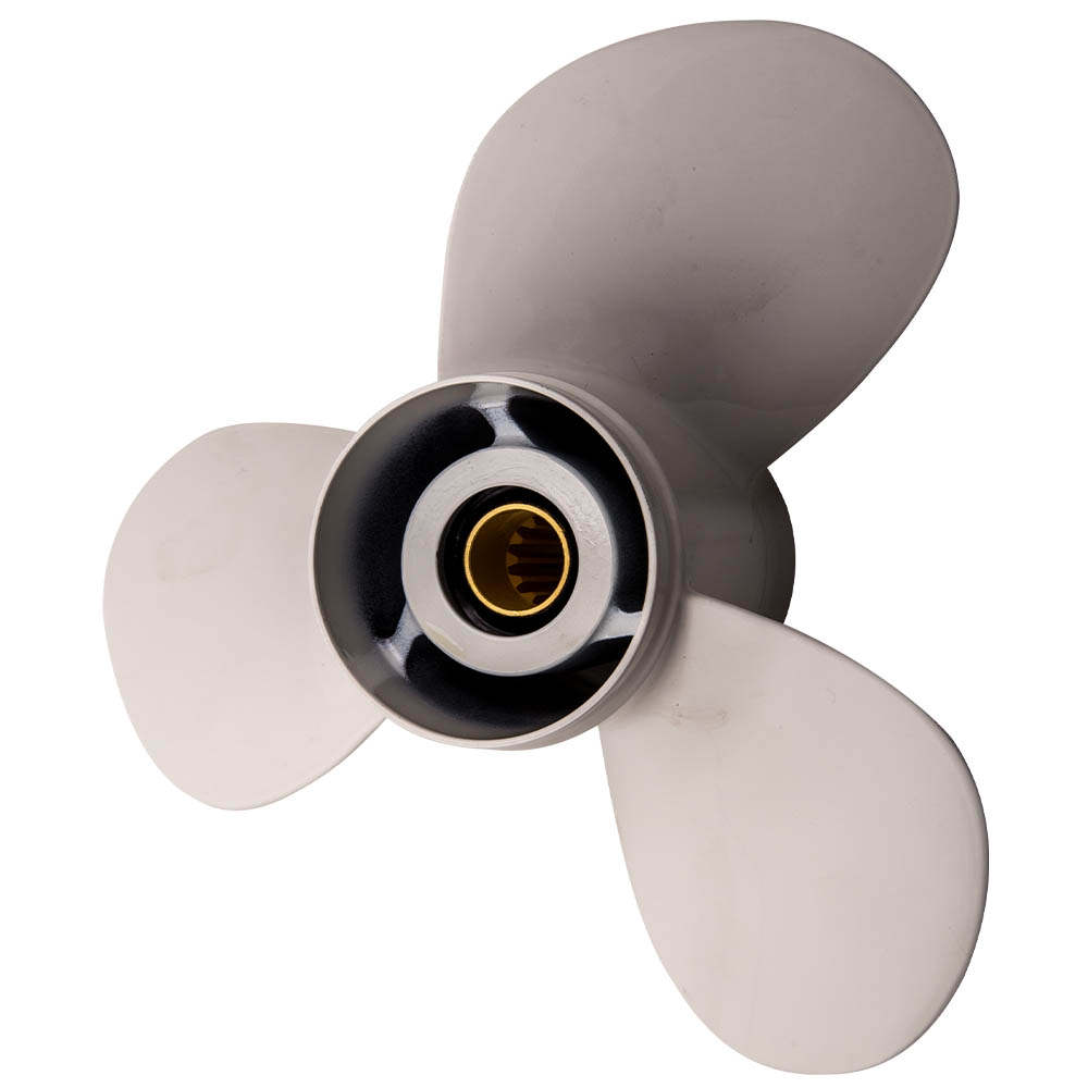 Hélice apta compatible para Yamaha 40HP-50HP-60HP 3 cuchillas de aluminio 11 3 / 8x12 G nuevo