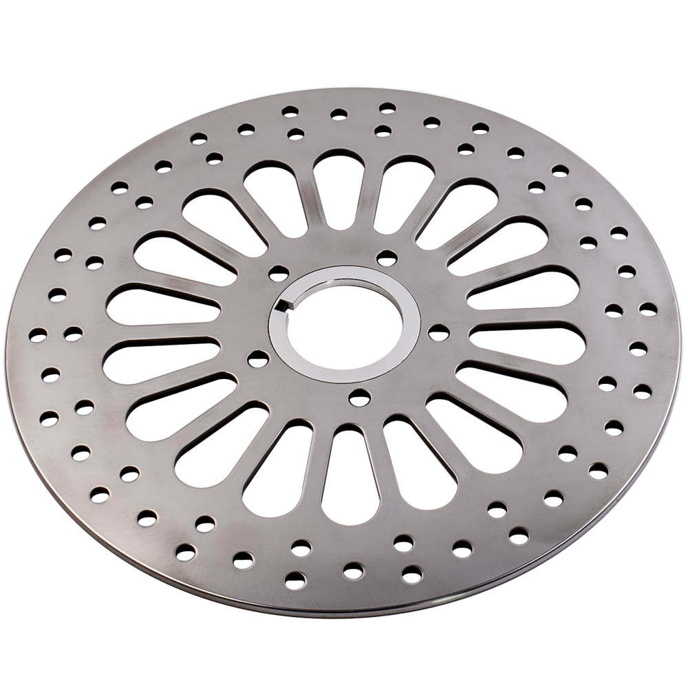 Polished Front 11.5 Disc Drilled Brake Rotor For Harley Dyna Sportster Softail