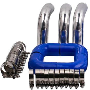 2.5 Aluminum Universal Intercooler Turbo Piping Blue hose T-Clamp kits 12pcs AMI