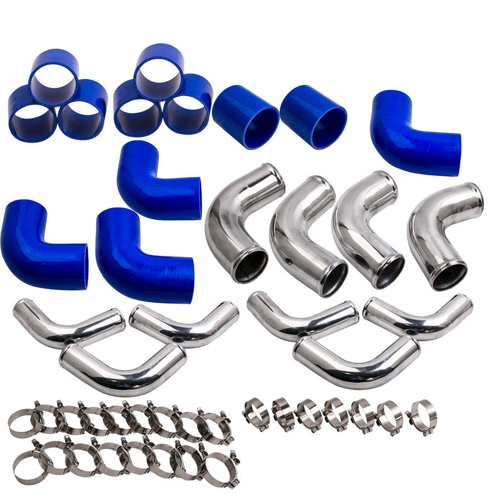 64mm 2.5 Aluminum Universal Intercooler Turbo Piping 64mm T-Clamp kits 12 Pieces