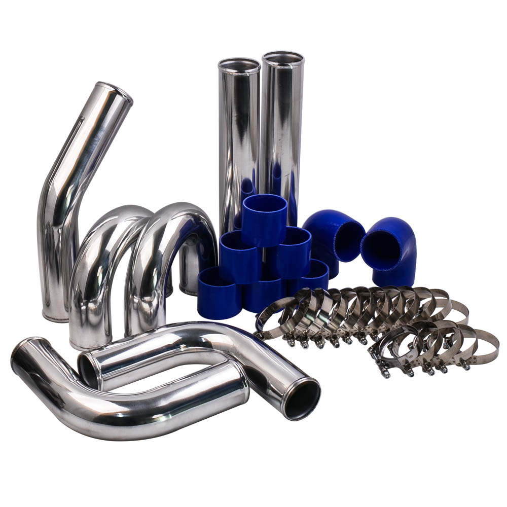 3'' 76mm Aluminum Universal Intercooler Turbo Piping Pipe and Blue hose and T-Clamp