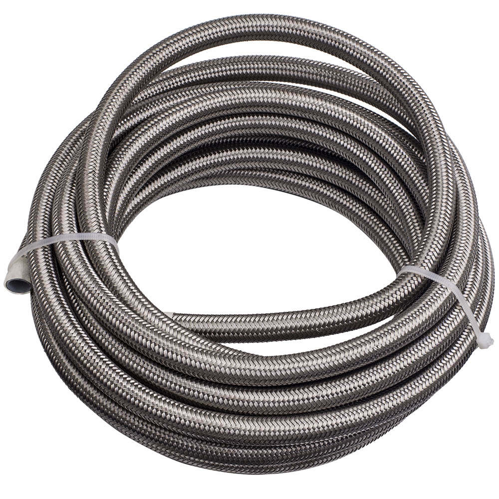 -8 AN8 Stainless Steel Braided Teflon/PTFE Fuel Hose Line 20ft Fitting E85