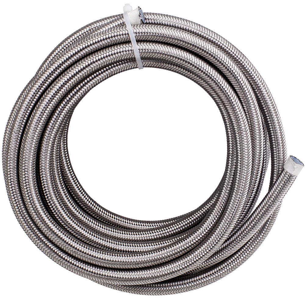 AN8 20 Ft -8AN Nylon Stainless Steel Braided Fuel Gas Oil Line Hose KIT
