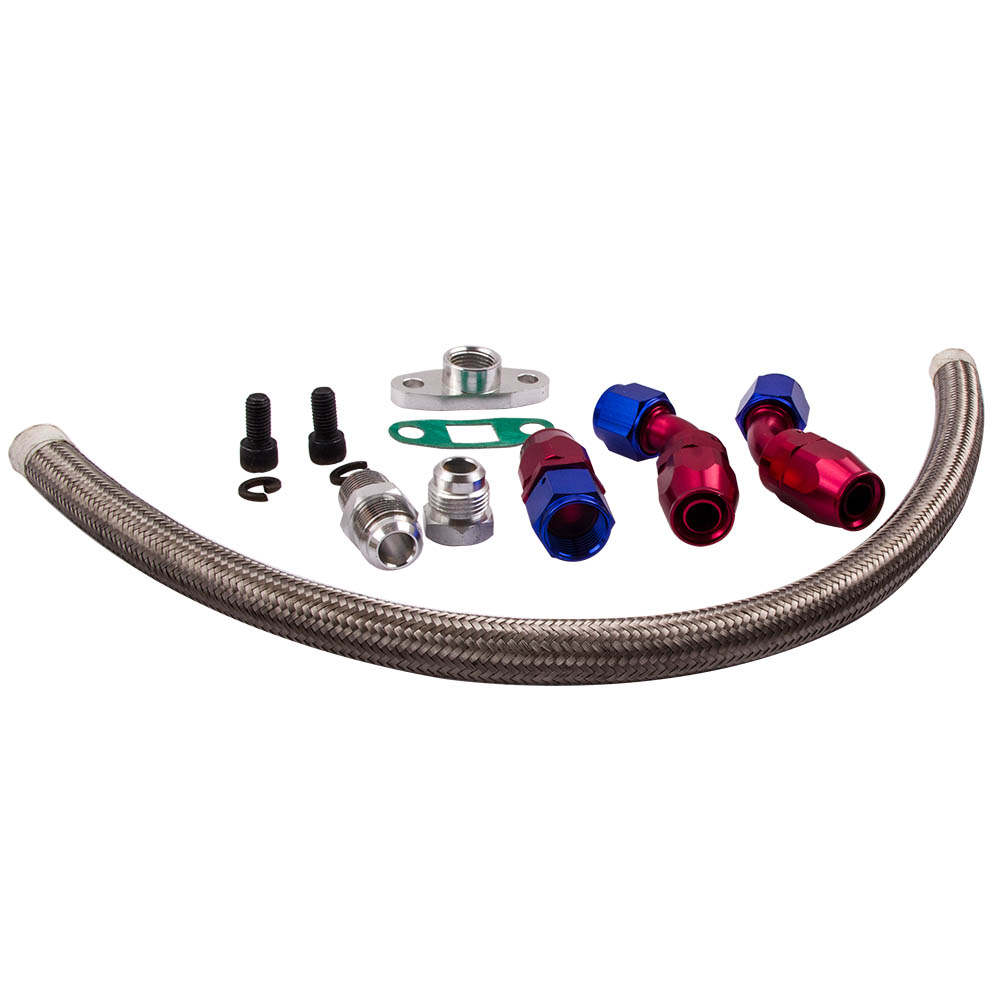 For T3 T4 T70 T66 T04E Turbo Turbochager Oil Feed + Return Drain Line Hose Kit