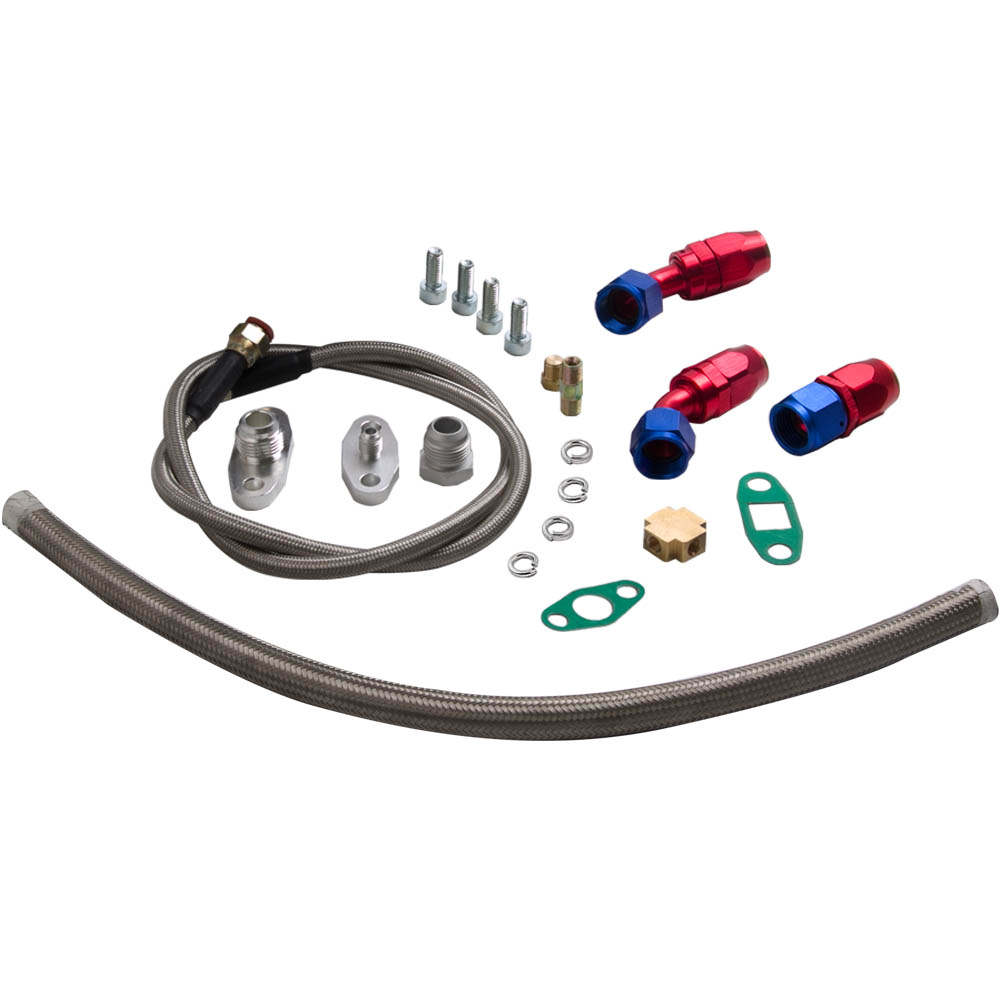 Turbo Oil Line Kit Feed Line + Return Drain For 4AN 10AN T04E T3 T4 Oil Pan Plug