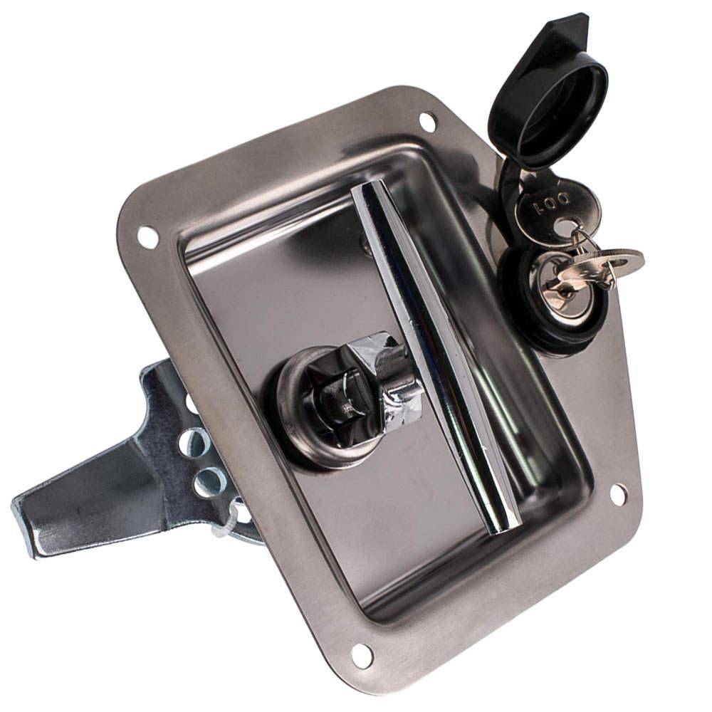 6x FOLDING T HANDLE LOCK FLUSH MOUNT TOOL BOX CAMPER TRAILER STAINLESS STEEL