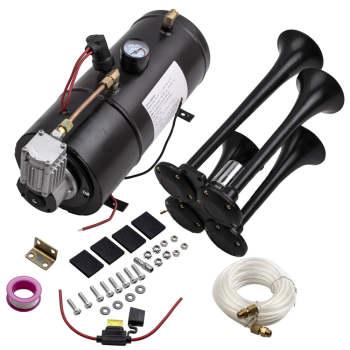 4 Trumpet Chrome train air horn kit with 150PSI 3L 12v trumpet Horn compressor