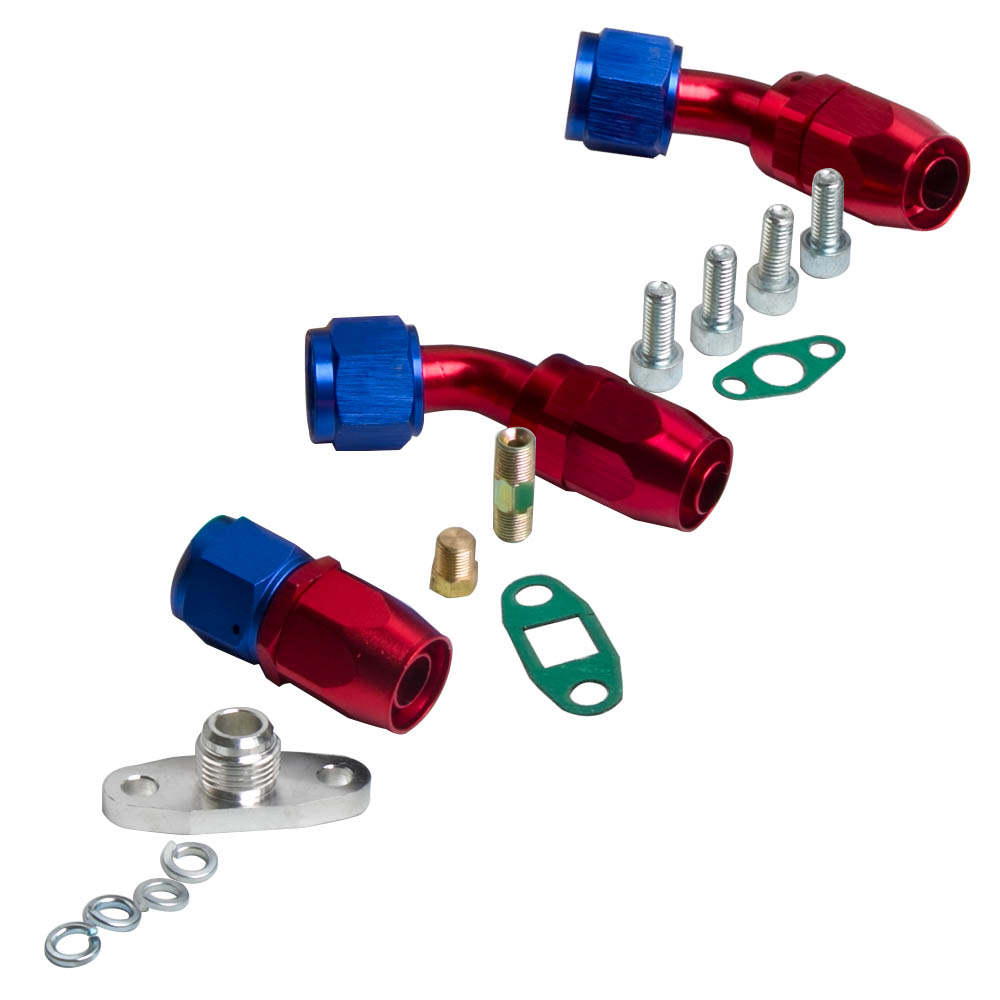 For GT30 GT3037 GT3076 T3 Flange Water and Oil Turbo Turbocharger + Oil Drain Return + Oil feed Line Kit