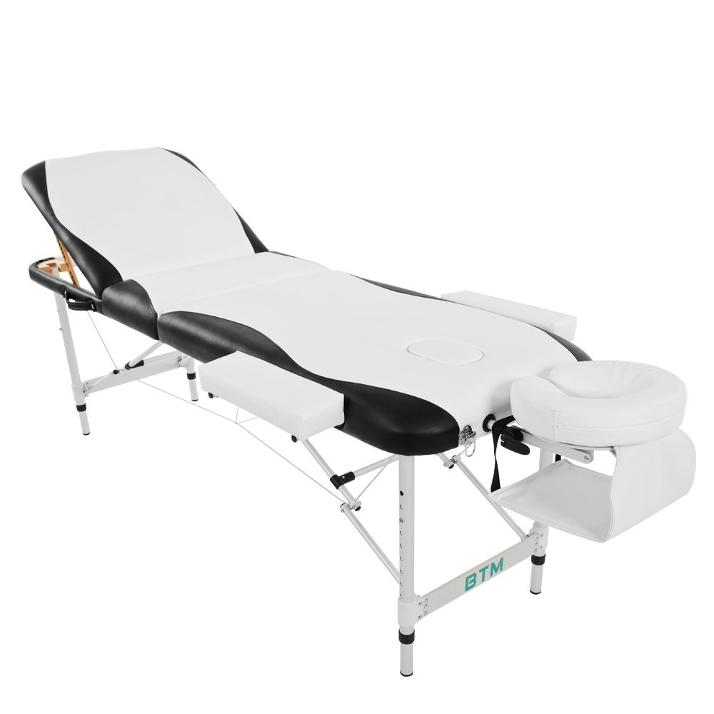 Massage Table Beauty Bed Foldable Height Adjustable 3 Section Aluminum with Premium PU Leather and D
