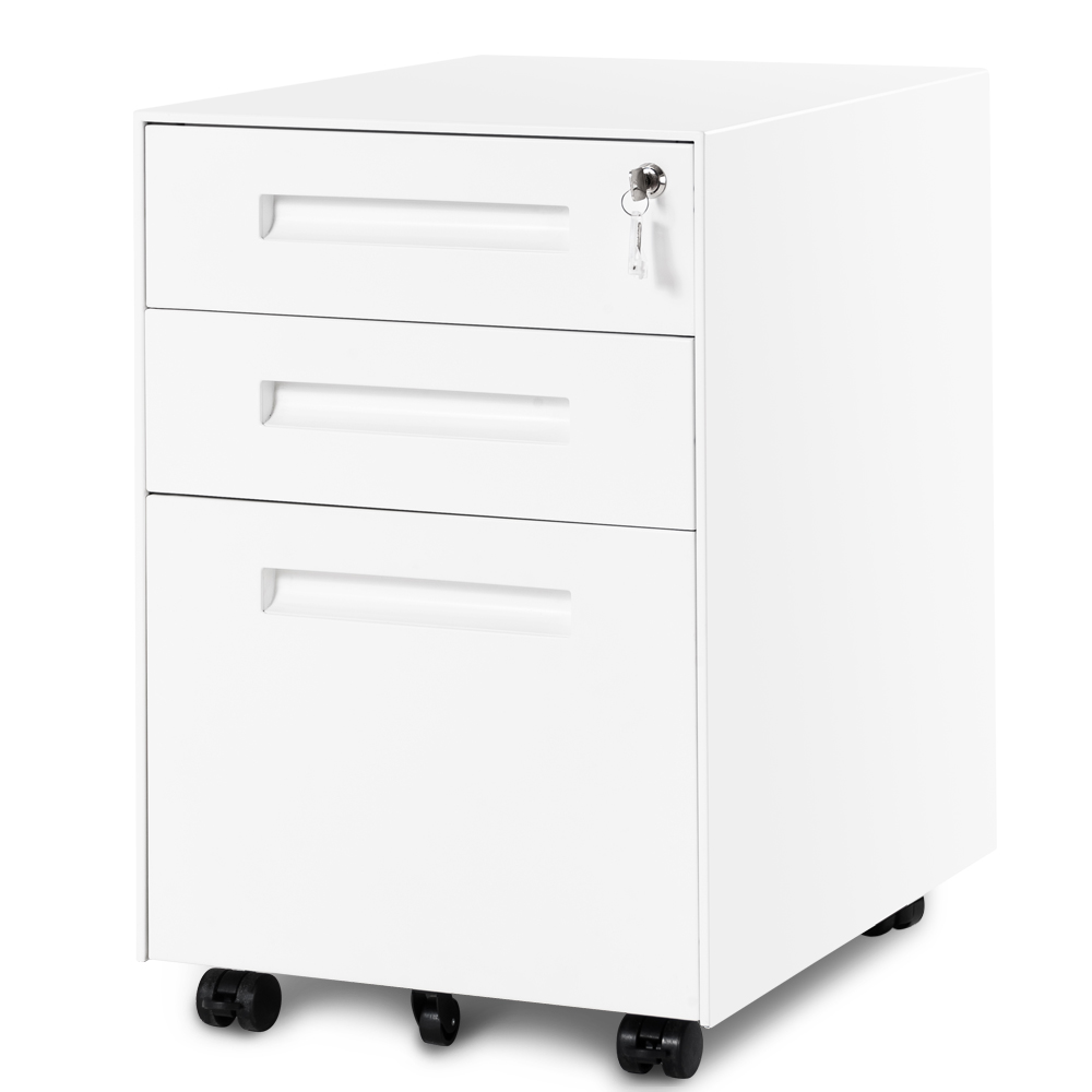3 Drawer Steel Metal Filing Cabinet with Embedded Handle and Lock White