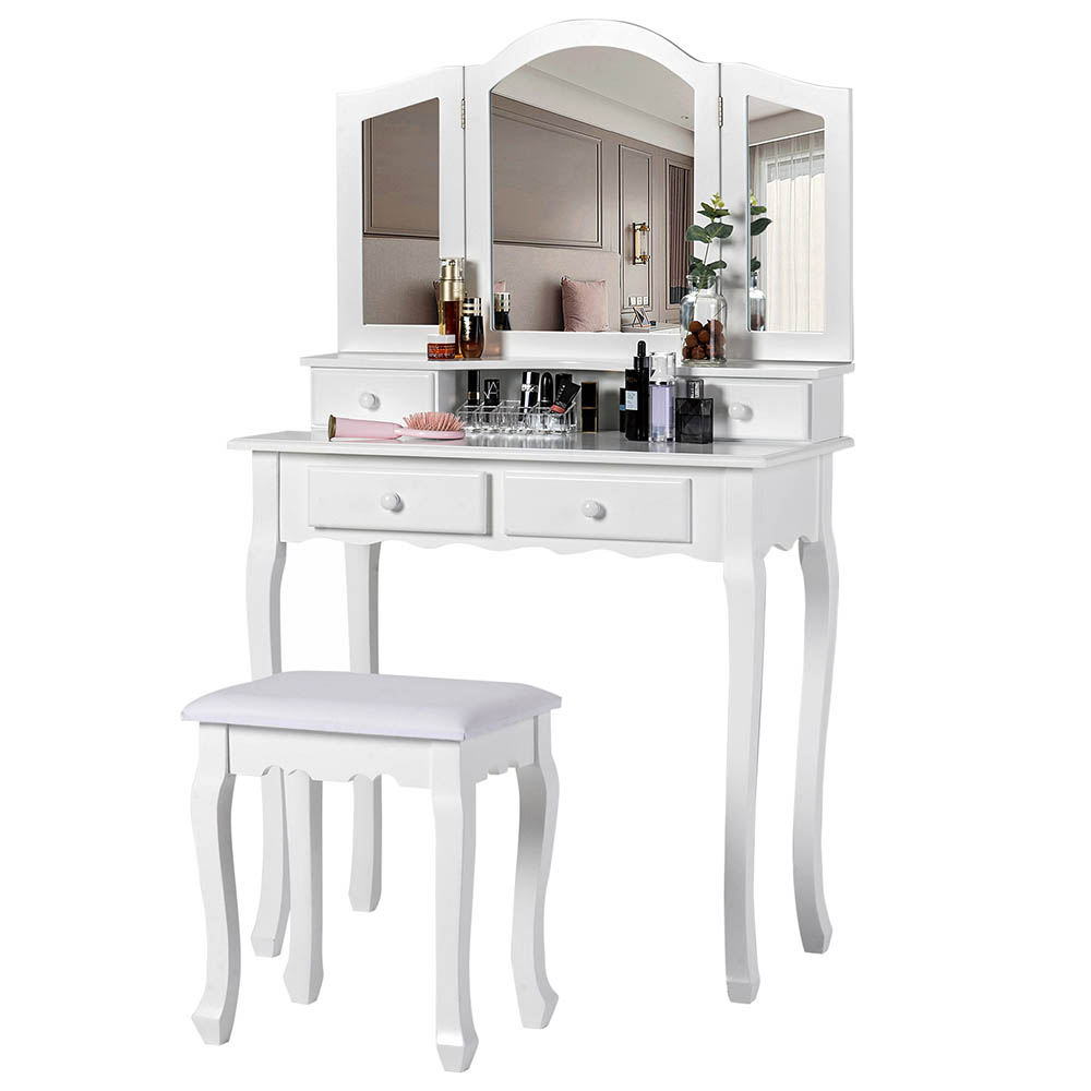 Dressing Table with 3 Mirror and Stool Dresser Makeup Vanity Desk with 4 Storage Cabinet and Drawer