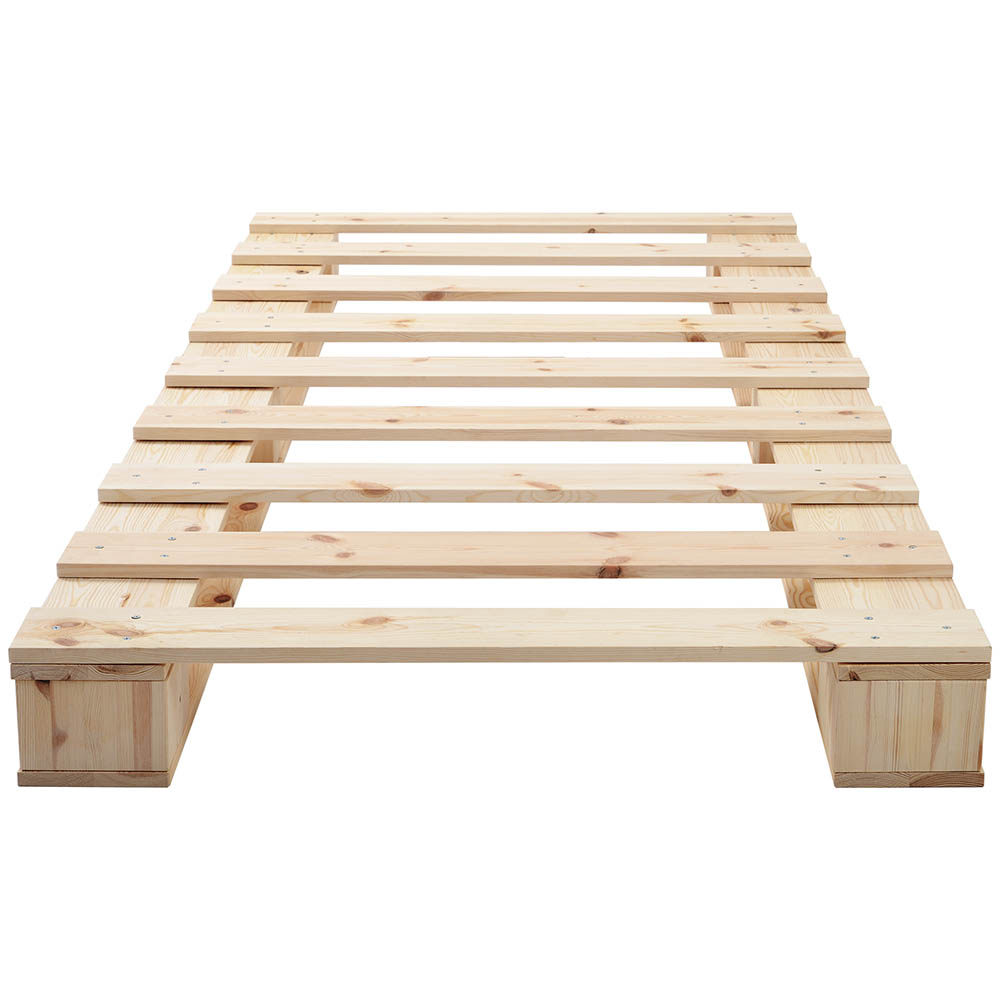 Wooden Platform Bed with Strong Slat Support Natural Wood 90 x 200 cm