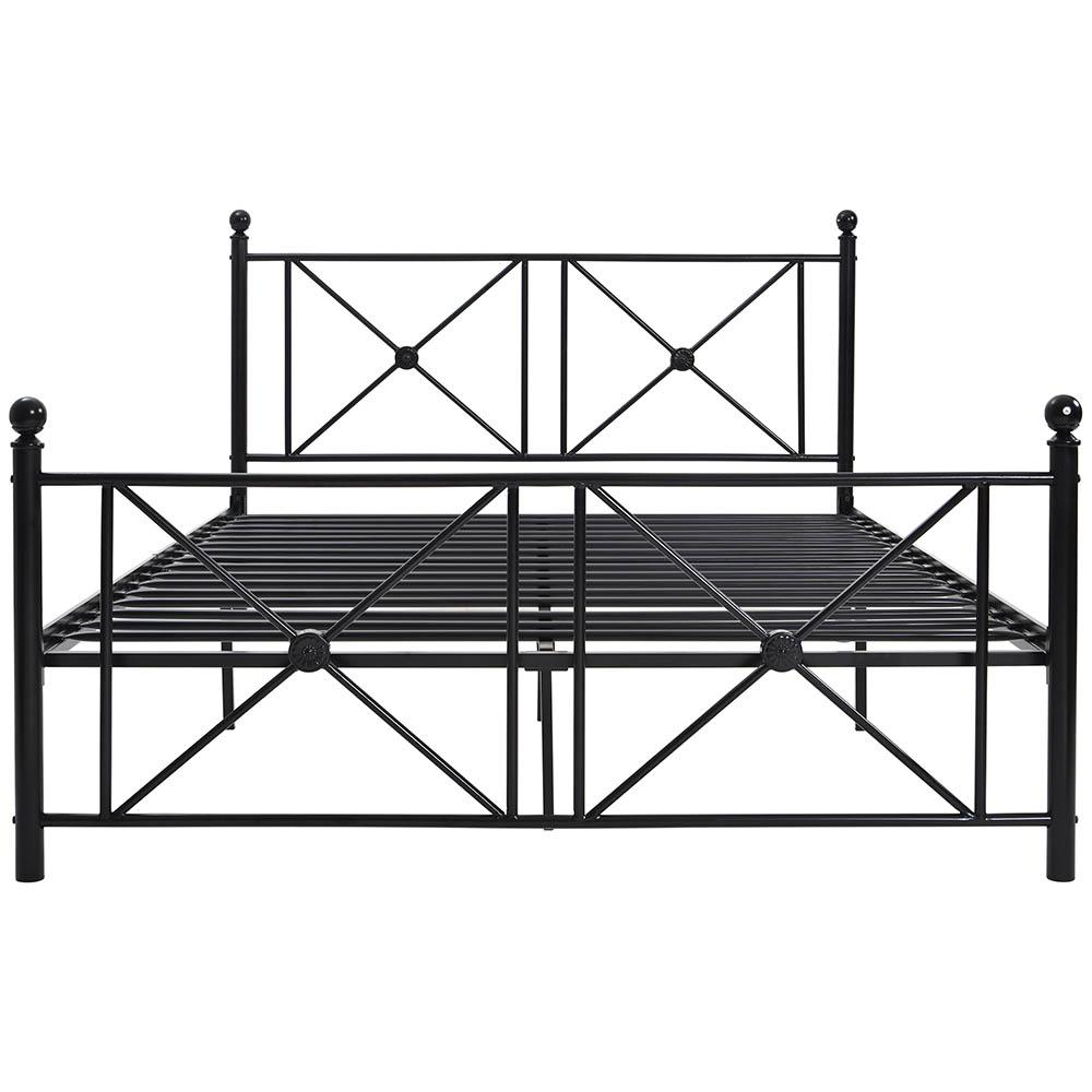 Double Bed Frame Metal Platform Bed with Vintage Style Headboard Black