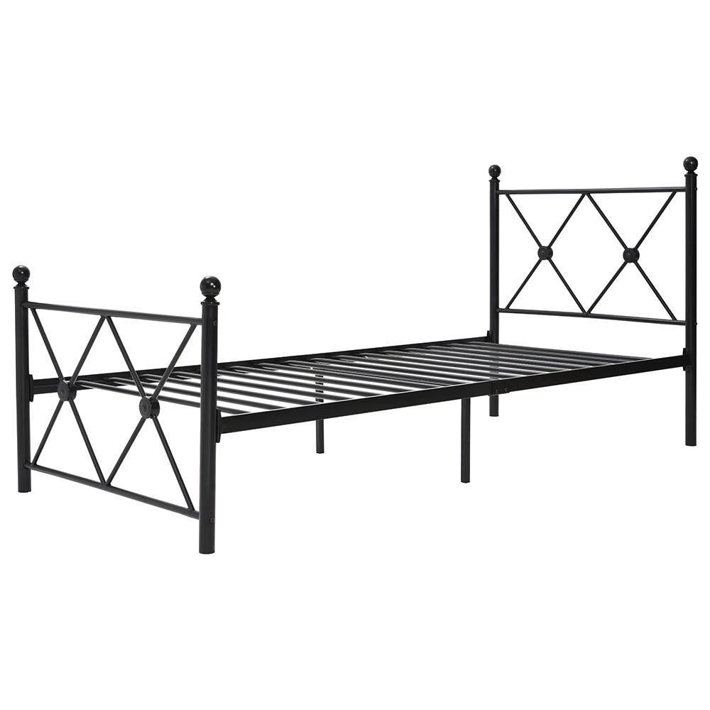 Single Bed Frame Reinforced Metal Platform Bed Frame with Headboard Black