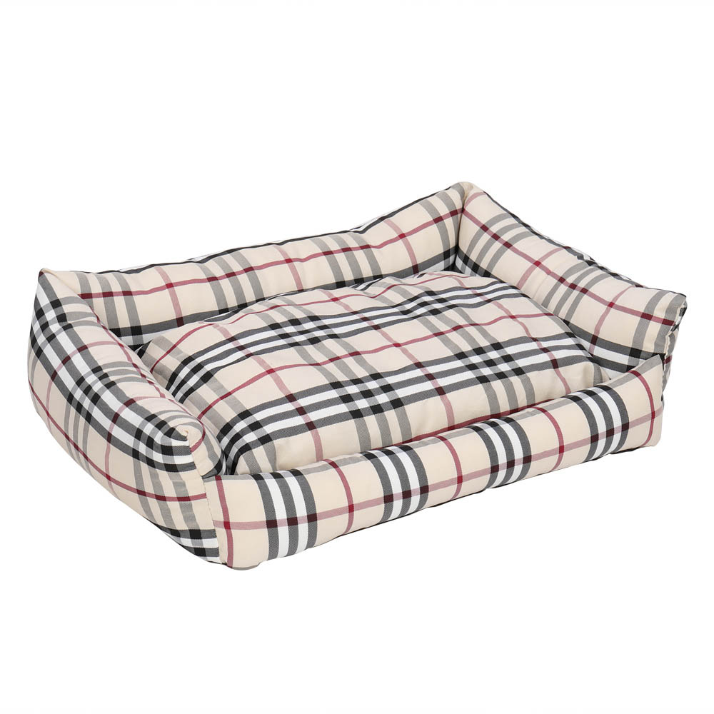 22inch Pet Bed Dog Mat Cat Pad Plaid Khaki for Cats and Small Dogs