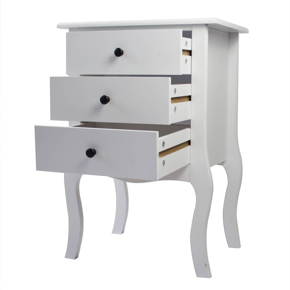 European Bedside Table-Three Pumps White
