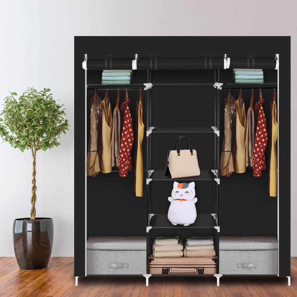 69inch Portable Wardrobe Foldable Closet with Hanging Rail Shelves Fabric Cover for Bedroom Cloakroo