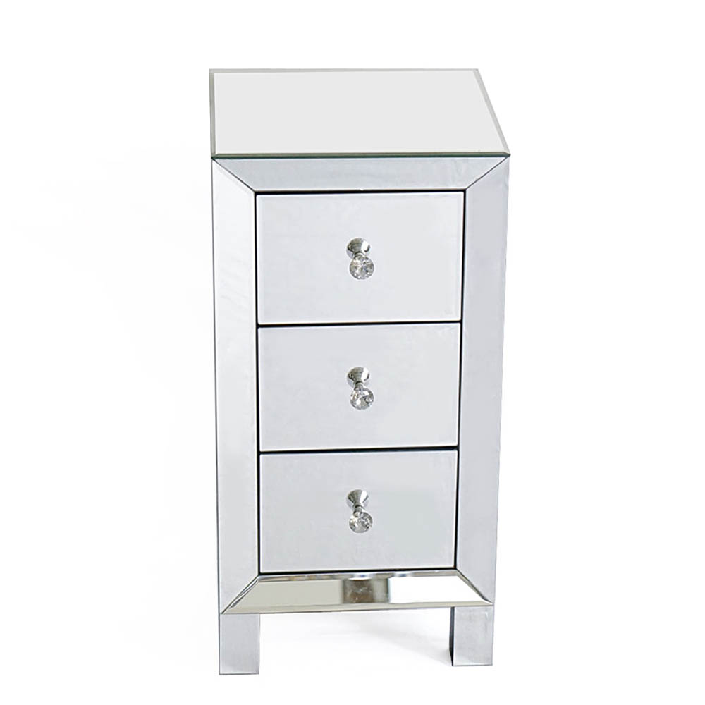 Modern and Contemporary Mirrored 3 - Drawers Nightstand Bedside Table