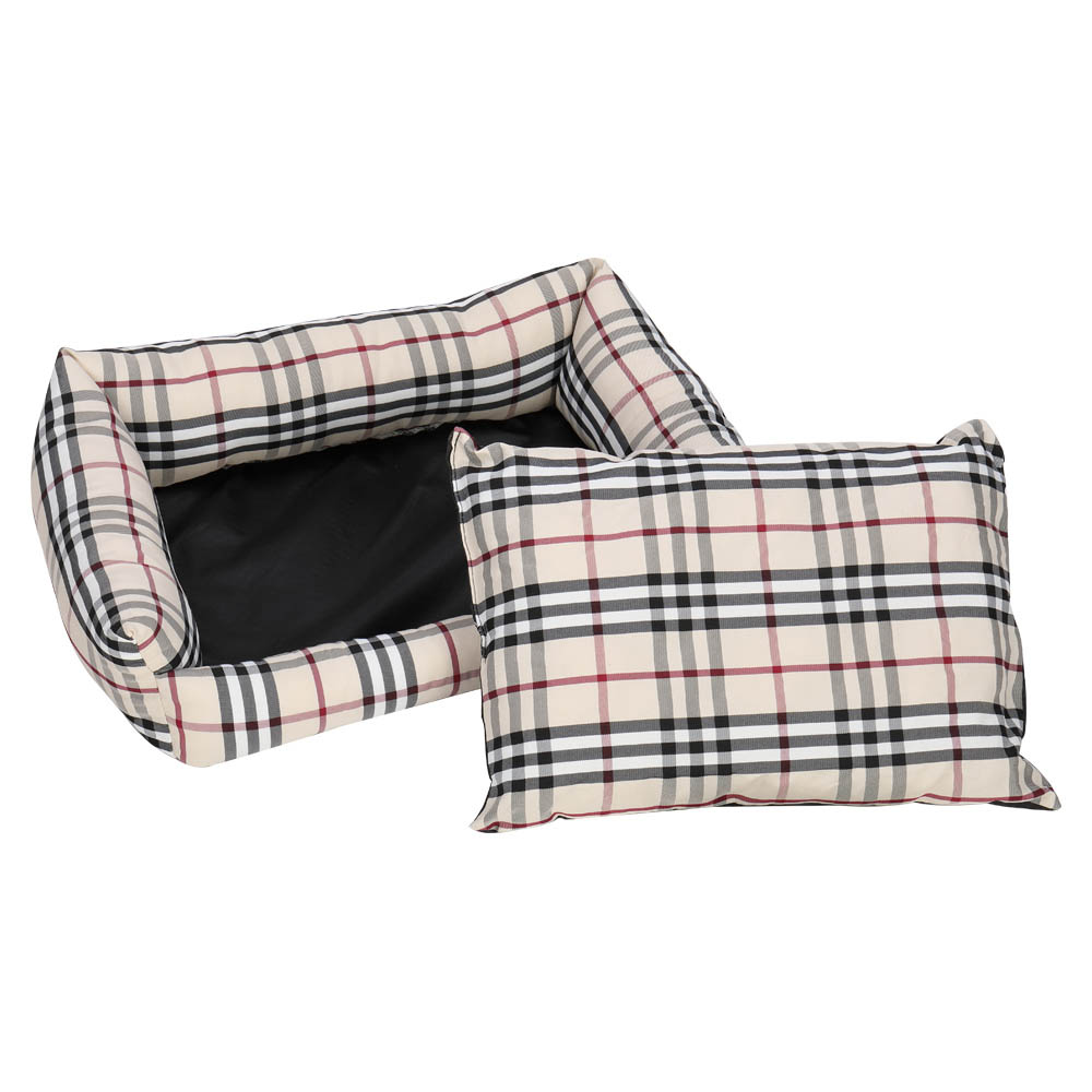 Pet Bed Dog Mat Cat Pad Plaid Khaki for Cats and Small Dogs