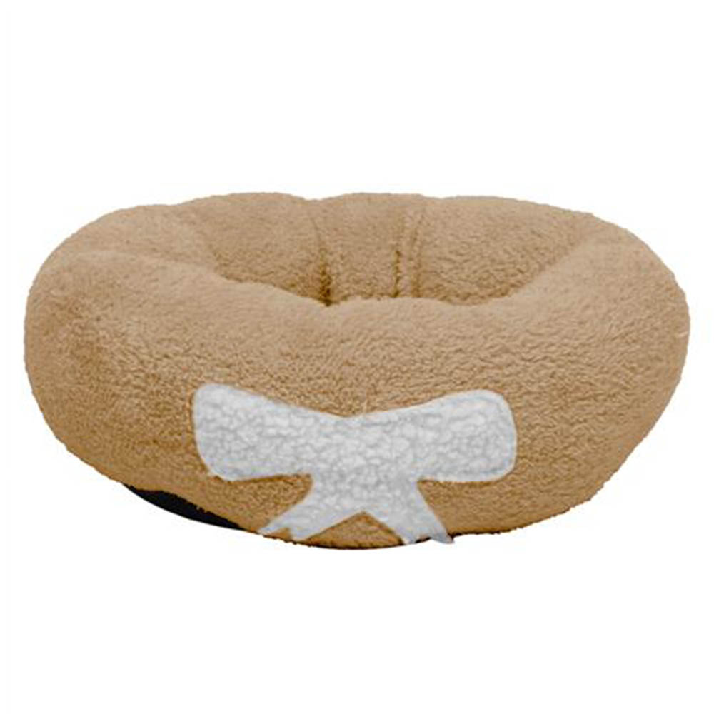 Pet Dog Cat Calming Bed Soft Plush Round Brown for Cats and Small Dogs Size M