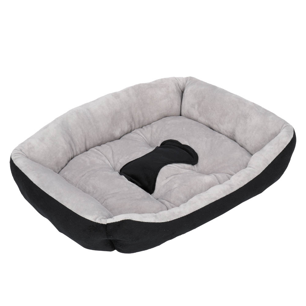 Pet Bed Dog Mat Cat Pad Soft Plush Gray Black for Cats and Small Dogs 55x42x10cm