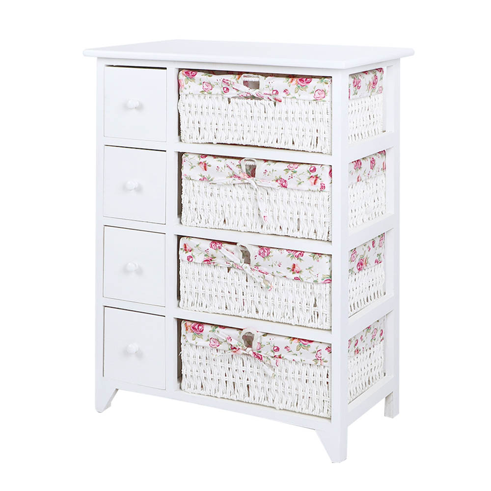 White 4-Tier Storage Cabinet for Home Office Bedrooms