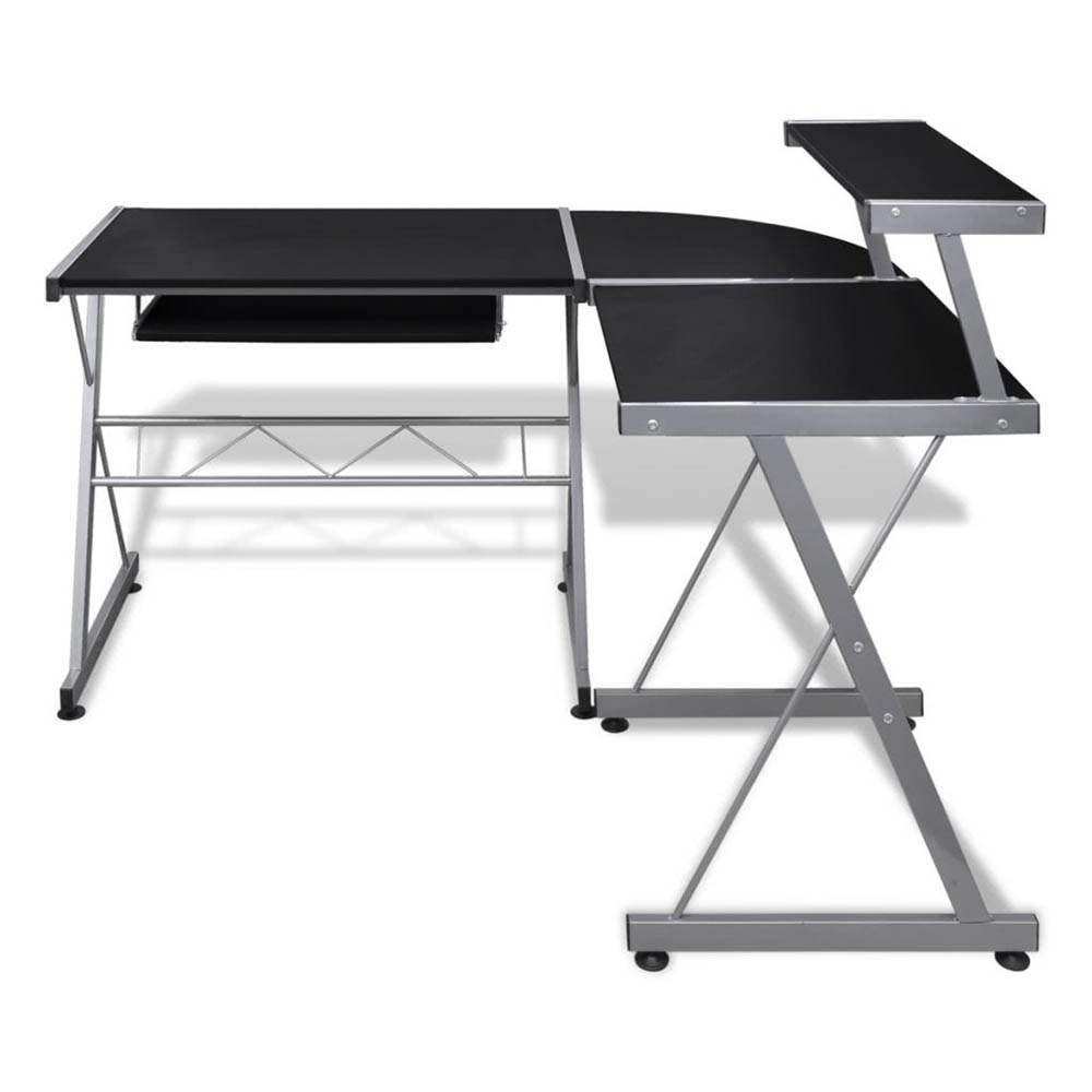 Compact Computer Desk L-Shaped PC Laptop Desktop Study Writing Table Workstation for Home Office wit